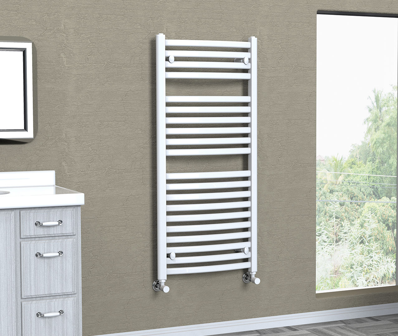 Affinity Curve Electric Towel Rail White